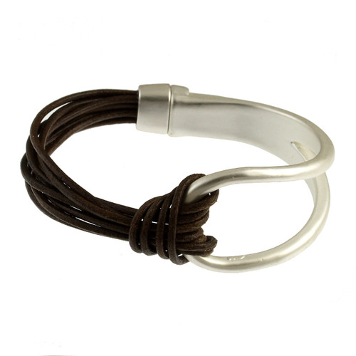 6065-34 - Matte Silver/Dark Brown Leather Magnetic Bracelet