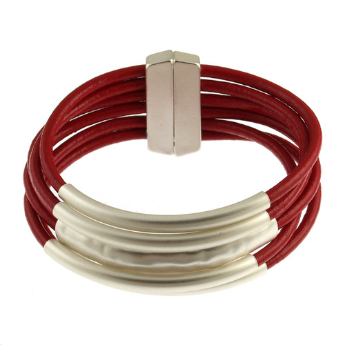 6105-9 - Matte Silver/Red Magnetic Bracelet