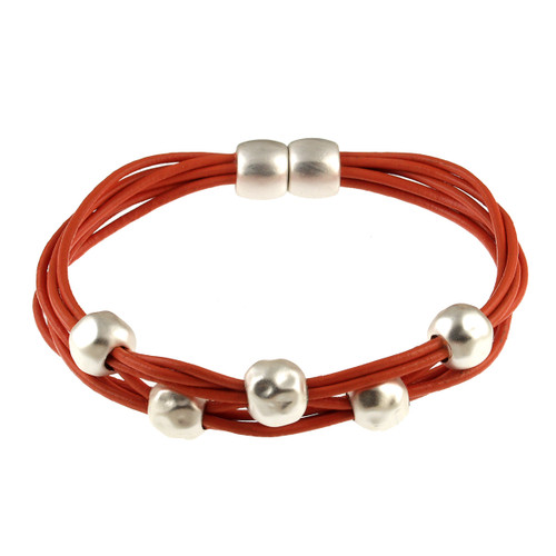 6140-7 - Matte Silver/Orange Magnetic Bracelet