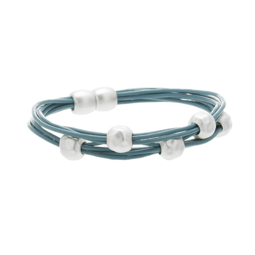 6140-5 - Matte Silver/Turquoise Magnetic Bracelet