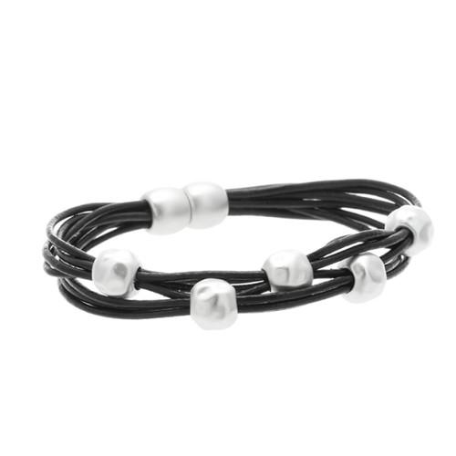 6140-4 - Matte Silver/Black Magnetic Bracelet
