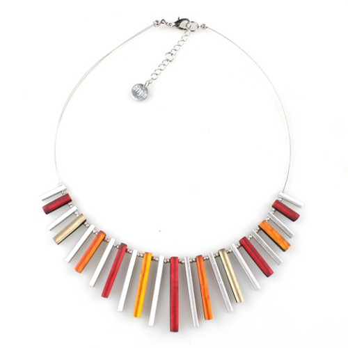 2300-1 - Square Sticks Necklace Flame