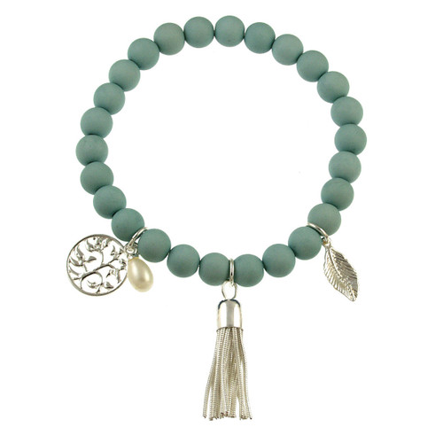 102-22 - Stretch Resin Light Blue Bracelet