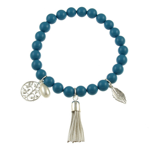 476-2 - Stretch Pearl and Shell Turquoise Bracelet