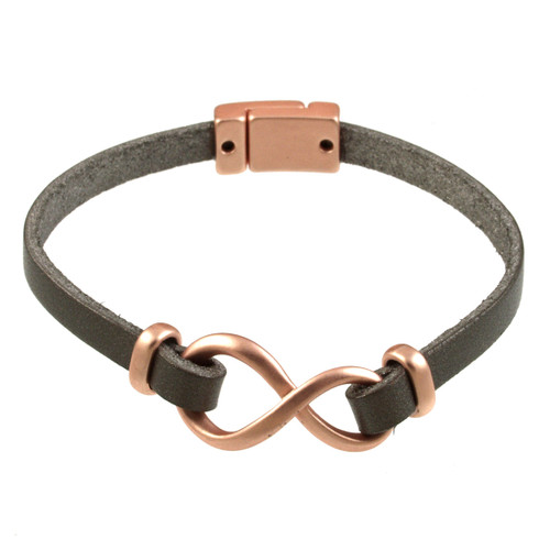 6138-63 - Matte Rose Gold/Dark Grey Infinity Magnetic Bracelet