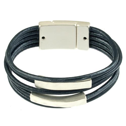 6134-118 - Matte Silver/Navy 2 Square Bar Magnetic Bracelet