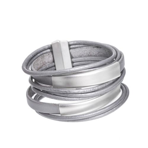 6150-1 - Matte Silver/Grey Large Stack Magnetic Bracelet