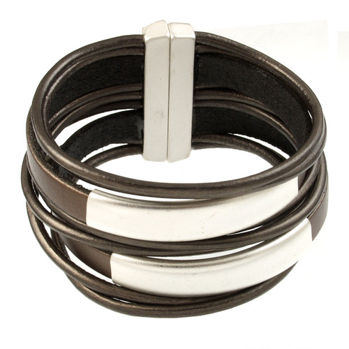 6150-58 - Matte Silver/Metallic Brown Large Stack Magnetic Bracelet