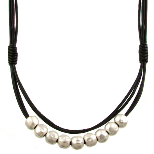 5089-4 - Matte Silver/Black Magnetic Clasp Necklace