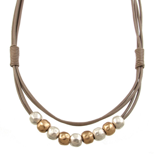 5089-2 - Matte Gold/Silver Taupe Magnetic Clasp Necklace
