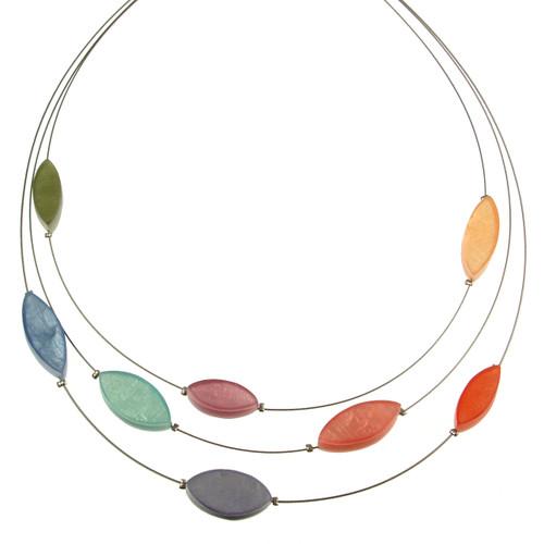2058-5 - 3 Strand Multi-Leaf Necklace Pastel