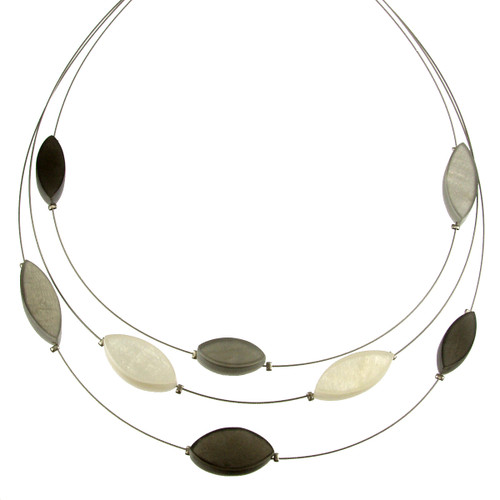 2058-9 - 3 Strand Multi-Leaf Necklace White