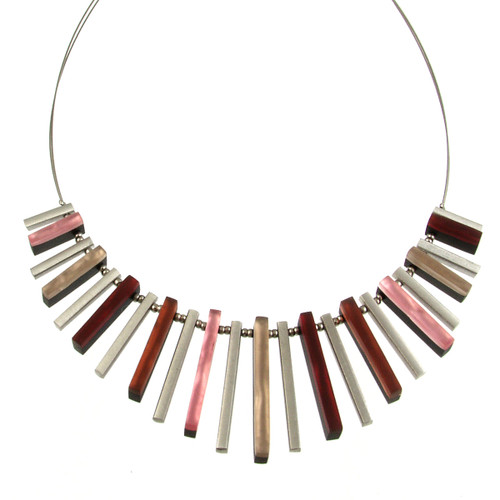2300-6 - Square Sticks Necklace Cherry