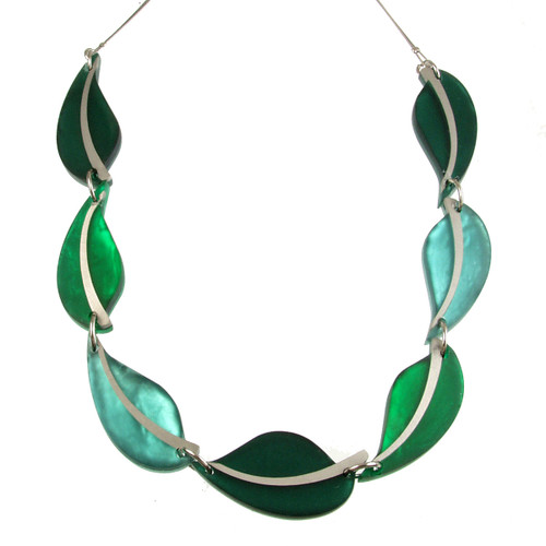 2258-3 - Autumn Leaves Necklace Emerald