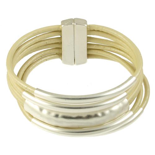6105-119 - Matte Silver/Ivory Magnetic Bracelet
