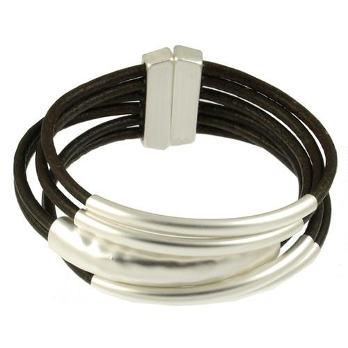 6105-42 - Matte Silver/Khaki Magnetic Bracelet