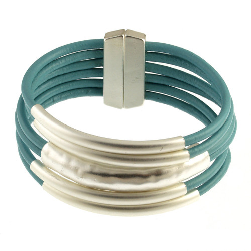 6103-5 - 18cm (7 inch) Matte Silver/Turquoise Small Tube Magnetic Bracelet