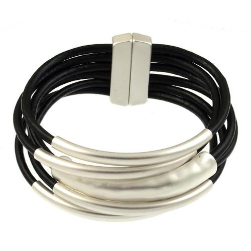 6103-40 - 18cm (7 inch) Matte Silver/Black Small Tube Magnetic Bracelet