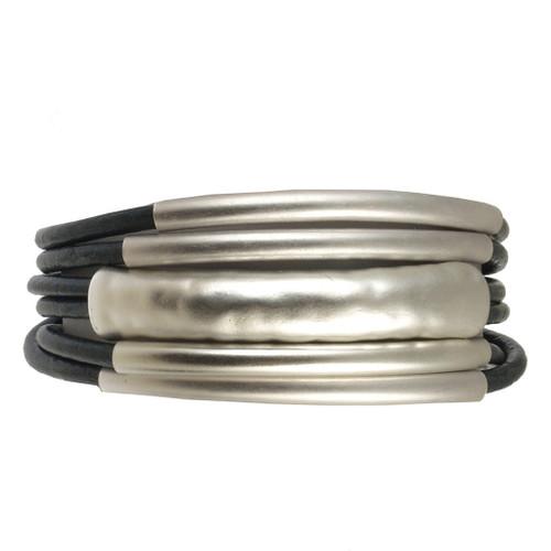 6103-8 - 18cm (7 inch) Matte Silver/Navy Small Tube Magnetic Bracelet
