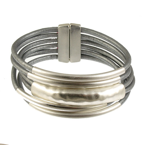 6103-1 - 18cm (7 inch) Matte Silver/Grey Small Tube Magnetic Bracelet