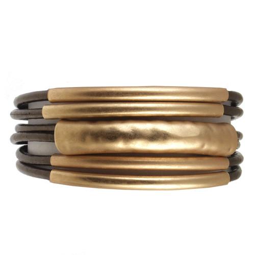 6103-59 - 18cm (7 inch) Matte Gold/Metallic Copper Small Tube Magnetic Bracelet