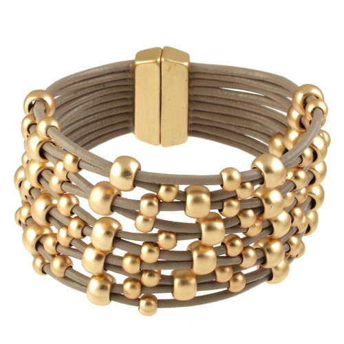 6152-87 - Matte Gold/Taupe Wide Woven Magnetic Bracelet