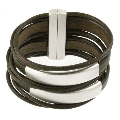 6150-42 - Matte Silver/Khaki Large Stack Magnetic Bracelet