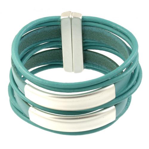 6150-5 - Matte Silver/Turquoise Large Stack Magnetic Bracelet