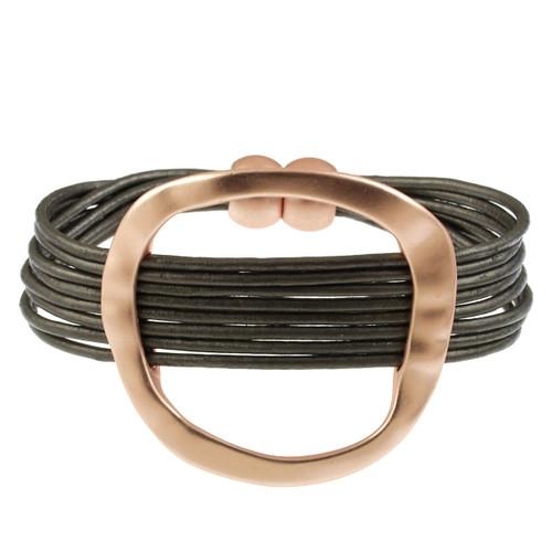 6170-63 - Matte Rose Gold/Dark Grey Hammered Oval Magnetic Leather Bracelet
