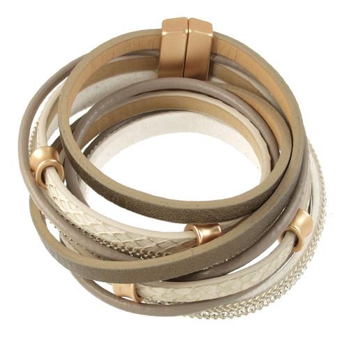 6165-87 - Matte Gold/Taupe Wrap Magnetic Bracelet