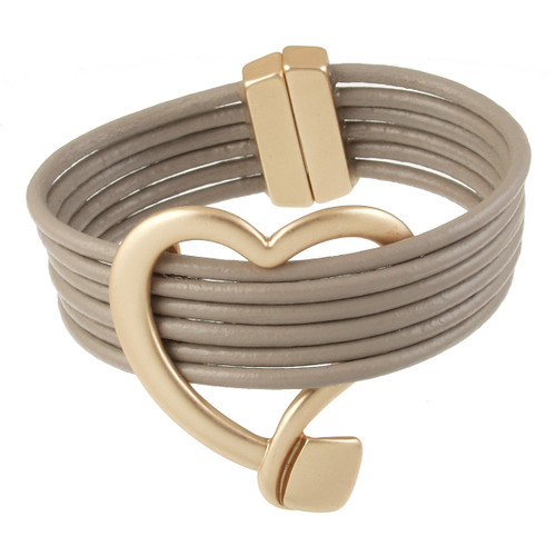 6158-87 - Matte Gold/Taupe Heart Magnetic Leather Bracelet