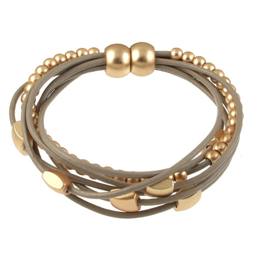 6156-87 - Matte Gold/Taupe Mini Squares Magnetic Leather Bracelet