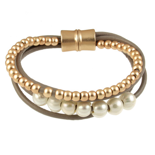 6159-87 - Matte Gold/Taupe White Pearl Magnetic Leather Bracelet