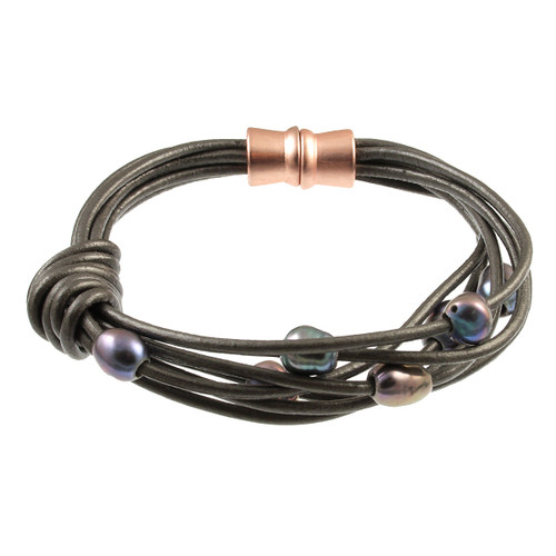 6160-63 - Matte Rose Gold/Grey Grey Pearl Knot Magnetic Leather Bracelet