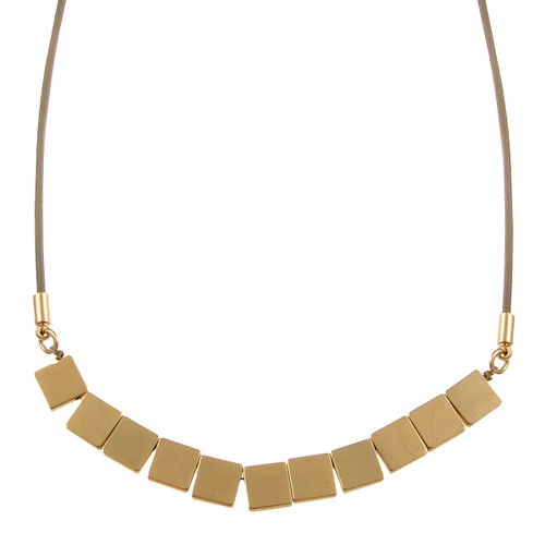 5106-87 - Matte Gold/Taupe Multi Square Magnetic Leather Necklace