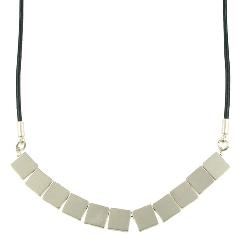 5106-118 - Matte Silver/Navy Multi Square Magnetic Leather Necklace