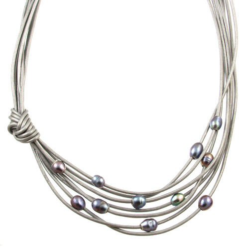 5170-1 - Matte Silver/Grey/Grey Pearls With Side Knot Magnetic Necklace