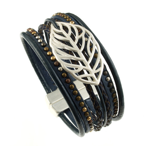 6193-118 - Matte Silver/Blue Autumn Leaf Magnetic Bracelet