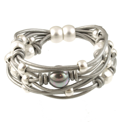 6641-1 - Matte Silver/Grey With Grey Pearl Magnetic Bracelet