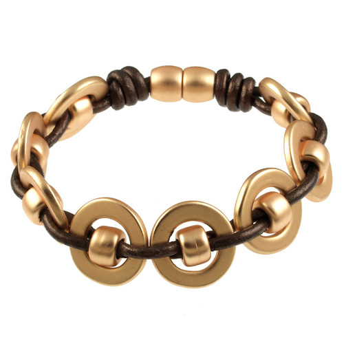 6668-59 - Matte Gold/Metallic Copper Round Weave Magnetic Bracelet