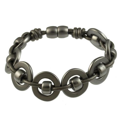 6668-44 - Matte Gunmetal/Dark Grey Round Weave Magnetic Bracelet