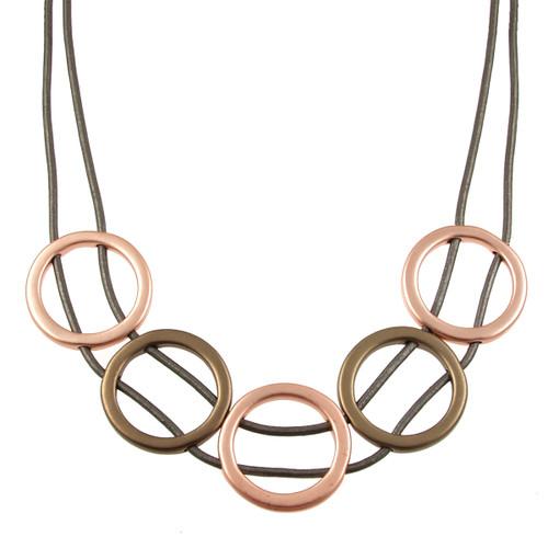 5948-63 - Matte Rose Gold/Matte Gunmetal/Dark Grey Full Circle Magnetic Necklace