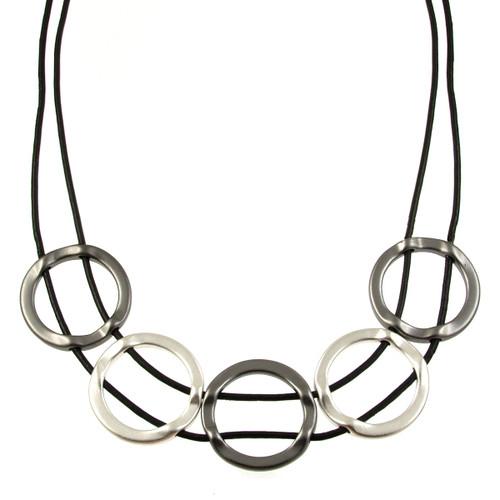 5948-4 - Matte Silver/Matte Gunmetal/Black Full Circle Magnetic Necklace