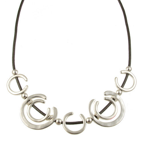 5125-1 - Matte Silver/Dark Grey Horseshoe Magnetic Necklace