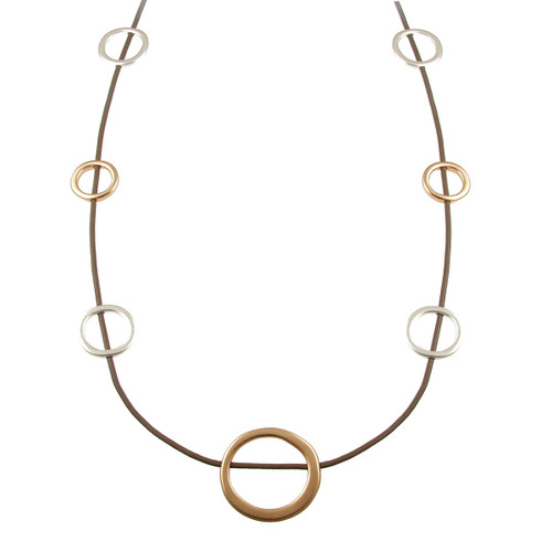 """5111-2- 36"""" Matte Gold/Matte Silver/Taupe Multi Circles Magnetic Necklace"""