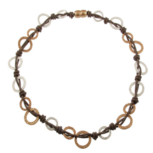 5174-2- Matte Gold/Matte Silver/Taupe Multi Woven Circles Magnetic Necklace
