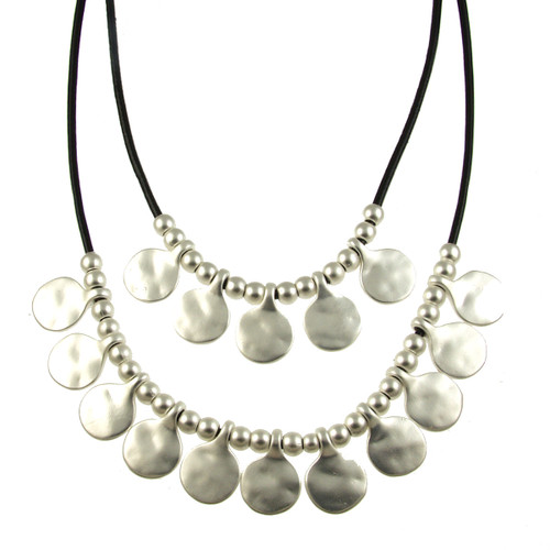 5113-4 - Matte Silver/Black Gypsy Necklace