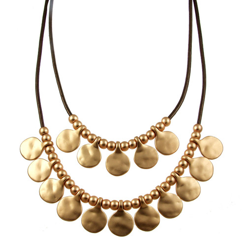 5113-59 - Matte Gold/Metallic Copper Gypsy Necklace