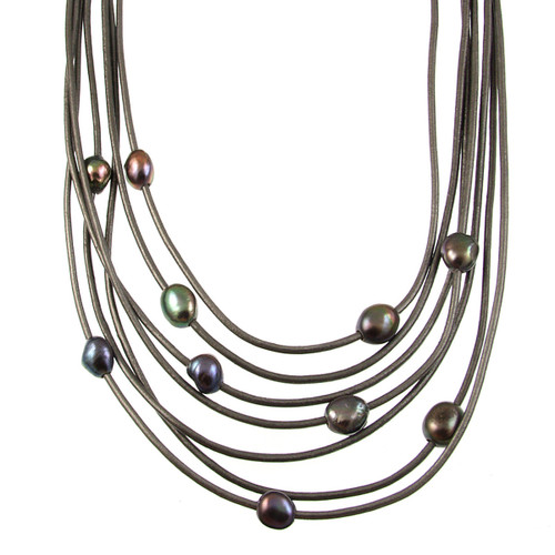 5188-1 - Matte Silver/Dark Grey/Grey Pearl Magnetic Necklace