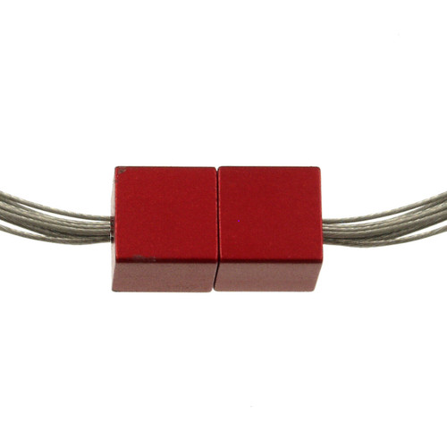 5117-1 - Magnetic Cube Pendant Matte Silver/Red